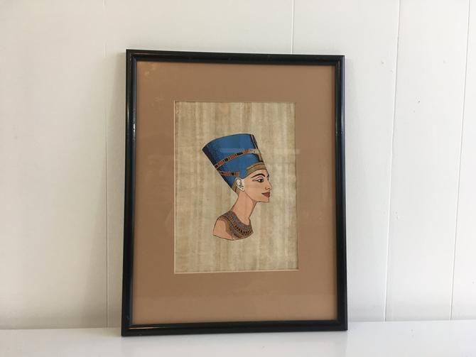 Vintage Framed Nefrititi Art Egyptian Fiber Paint Mid-Century 1970s Retro Wall Decor Ancient Egypt Queen by CheckEngineVintage