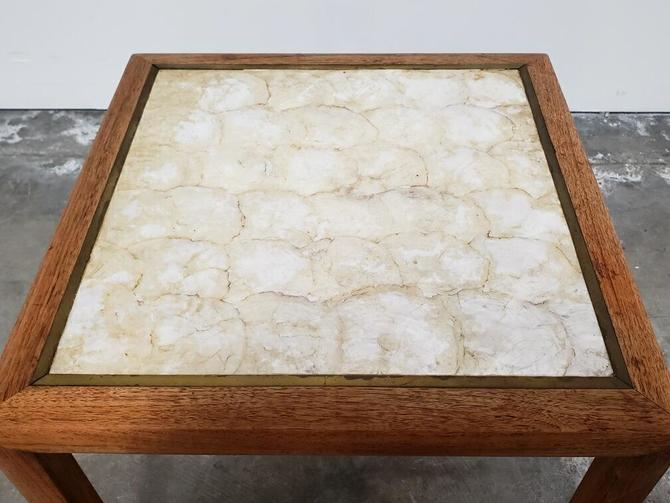 Mother of pearl and brass lined side table