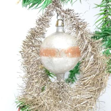 Antique Mercury Glass Ball in Tinsel Wreath Christmas Ornament, Vintage Victorian by exploremag