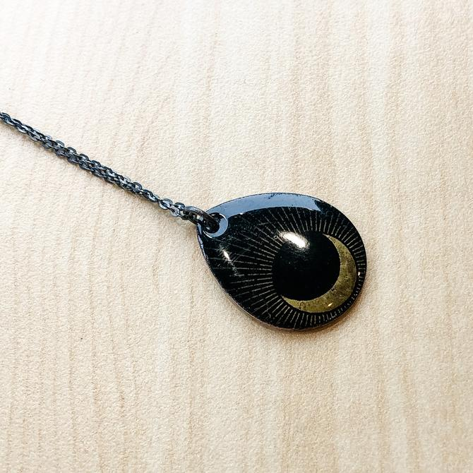 Black Enamel Pendant with Crescent Moon