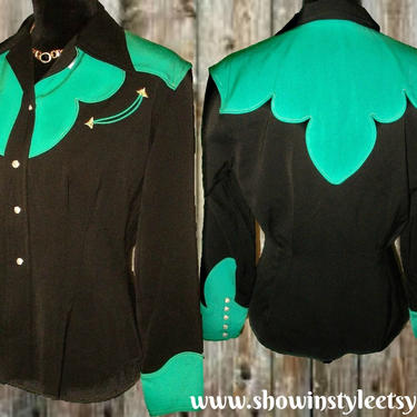 Vaquero Fashions Vintage Western Women's Cowgirl Shirt, Western Blouse, Black and Teal Green, Approx. Small (see meas. photo) by ShowinStyle