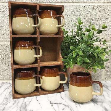 Vintage Mug Set with Shelving Retro 1970s Ceramic + Pottery + Set of 6 Matching + Hanging Wood Shelf + Rustic + Kitchen and Home Decor by RetrospectVintage215