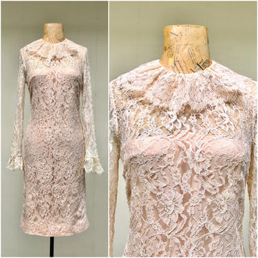 """Vintage 1960s Ivory Lace Party Dress, 60s Mod Special Occasion Wiggle Dress, Extra Small 34"""" Bust by RanchQueenVintage"""