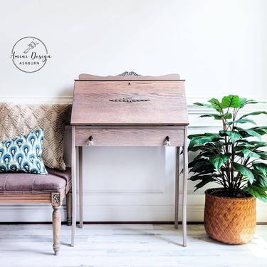 Vintage Secretary, Ladies Writing Desk, Oak Desk, Vanity by AminiDesignAshburn