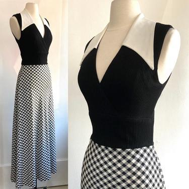 70's Vintage Black White + GINGHAM Mod Maxi Dress / Dagger Collar + Empire Waist by CharmVintageBoutique