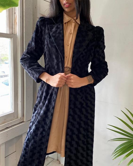90s Puff Sleeve Velvet Coat