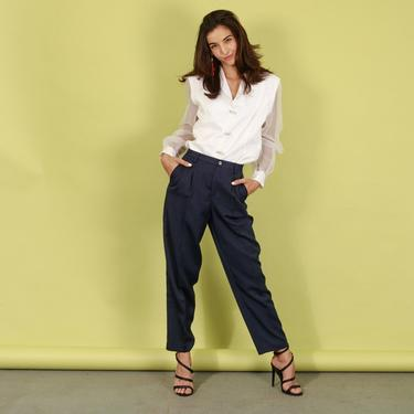 90s Liz Claiborne Dark Blue Trousers Vintage Fitted Navy Classic Pants by AppleBranchesVintage