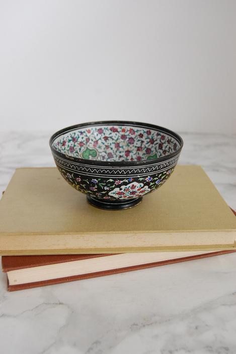 Vintage Enamel Bowl - Middle Eastern Enamel Bowl - Boho Decor by PursuingVintage1