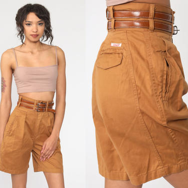 Brown Pleated Shorts 24 Trouser Shorts 80s Pleated Mom Shorts High Waisted Cotton Belted 1980s Vintage Summer Bottoms Extra Small xs 24 by ShopExile