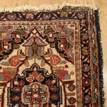 Vintage Rug 1' 11 x 2' 6 White Farmhouse Rug by JessiesOrientalRugs