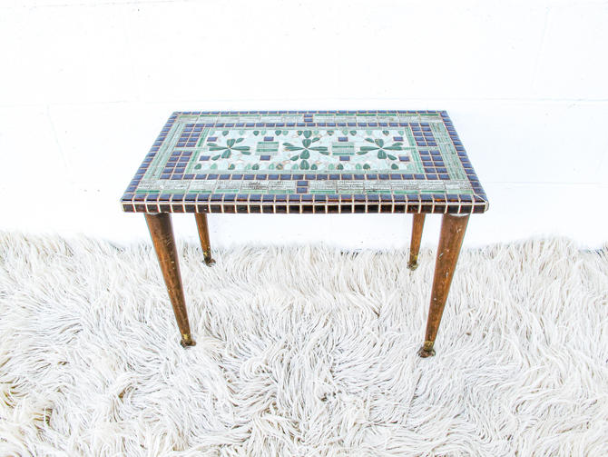 Vintage Mid-Century Tile Table with Wood Legs and Brass Tips by PortlandRevibe