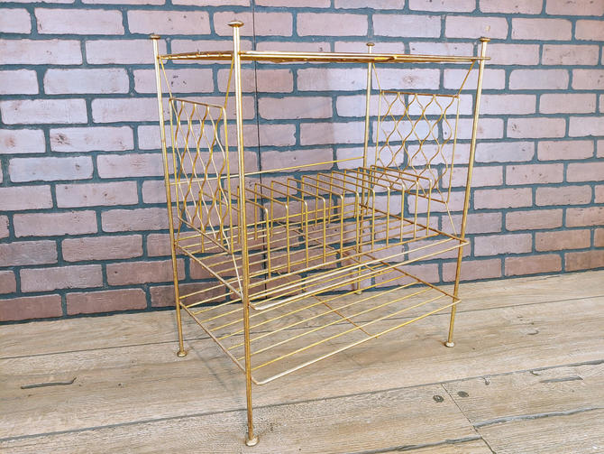 Mid Century Brass Wire Record Rack Table by RedsRustyRelics