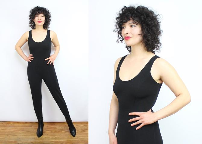 Vintage 90's Black TADASHI Stretchy Slim Fit Jumpsuit / 1990's Stirrup Jumpsuit / Women's Size Small - Medium by RubyThreadsVintage