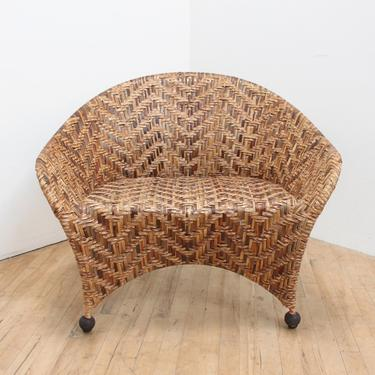 Vintage Palm and Cast Iron Lounge Chair by 330Modern