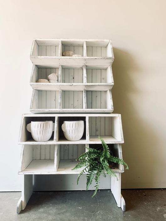 White Wood Cubby with Beadboard | Shoe Rack Wooden Cubby | Crafts | Bathroom Storage | Kitchen Storage | Entryway | Kids | Cubbies Lockers by PiccadillyPrairie