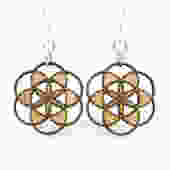 Seed of Life Blossoms - Wood Earrings by GreenTreeJewelry