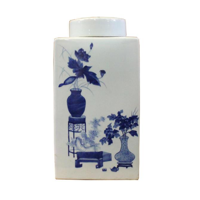 Chinese Blue White Square Porcelain Flower Graphic Accent Jar ws353E by GoldenLotusAntiques