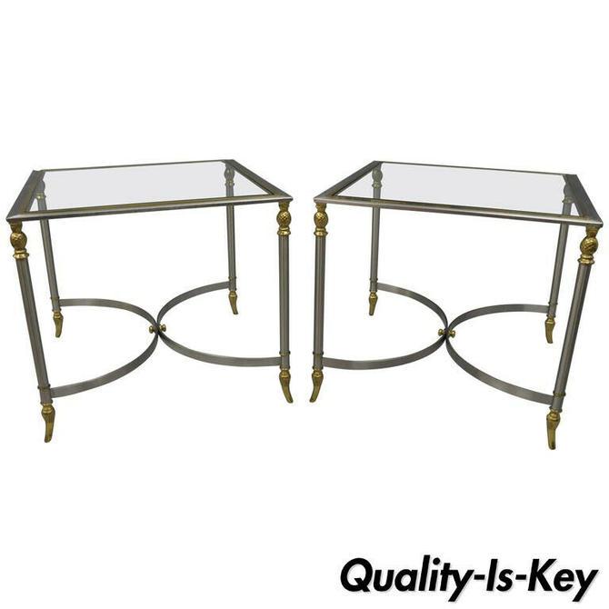 Pair Directoire Maison Jansen Style Italian Steel & Brass Pineapple Side Table