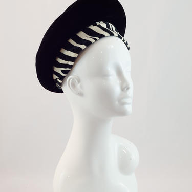 1960s Vintage Hat - Black Beret with Zebra Striped Band by Mr. John Classic by DomesticatedPinup