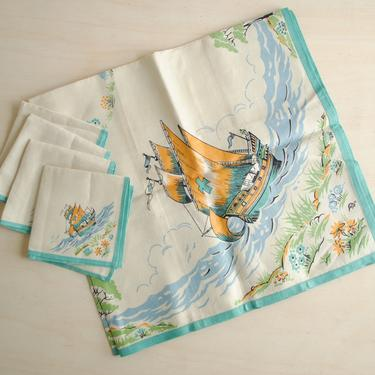 Vintage Nautical Linen Napkin and Tablecloth Set, Set of 4 Sailing Ship Linen Napkins and Table Cover, Blue and White Linens by LittleDogVintage