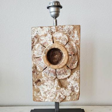 Antique Distressed Terracotta Architectural Wall Panel Element Mounted As Table Lamp For all Sculpture by LynxHollowAntiques