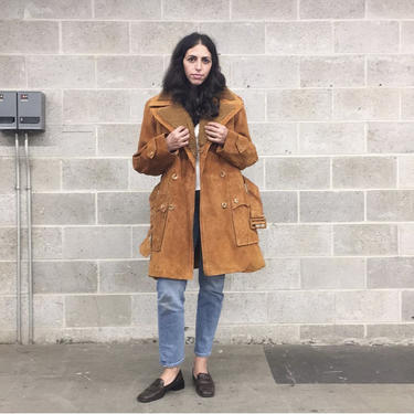 Vintage Coat Retro 1970s Suede Leather + Size 40 + Unisex + Penny Lane + Almost Famous + Notched Collar + Waist Tie + Cold Weather + Apparel by RetrospectVintage215