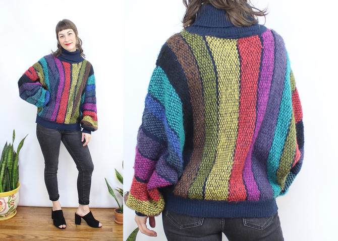 Vintage 70's 80's Rainbow Striped Fuzzy Dolman Sleeve Sweater / 1970's Turtleneck Rainbow Sweater / Women's Size Medium Large  XL by RubyThreadsVintage