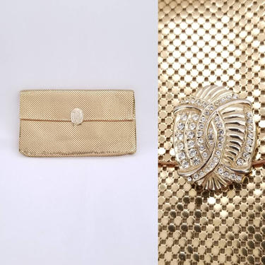 1950s Gold Whiting & Davis Envelope Clutch Purse ~ Formal Deco Style Mesh Handbag ~ Prom Wedding Special Occasion Evening Bag by SoughtClothier