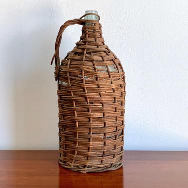 Blown Glass Demijohn - XXL Vintage Hand Blown Woven Wicker Wine Bottle - Glass Wine Jug - Vintage Wicker Jug - Hand Woven Basket Bottle by ShopRachaels