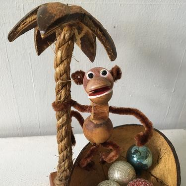 Vintage Monkey Coconut Souvenir Art, Wood Bead And Pipe Cleaner Chimp, Rope Coconut Palm Tree, Hand Made by luckduck