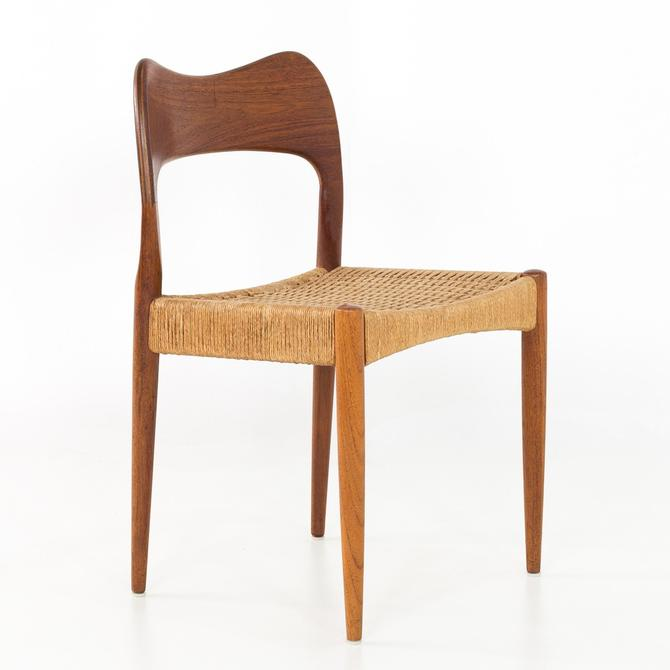 Niels Moller Number 71 Danish Teak Caned Mid Century Modern Dining or Desk Chair - mcm by ModernHill