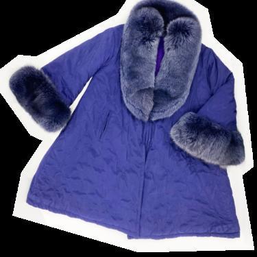 Gianfranco Ferre purple fur trim coat