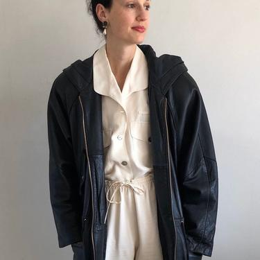 90s leather jacket coat / vintage black genuine buttery soft leather zip front hooded jacket coat | L by RecapVintageStudio