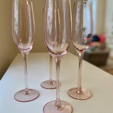 Tall Pink Champagne Glasses - Set of 4 by AntiquetoChicChicago