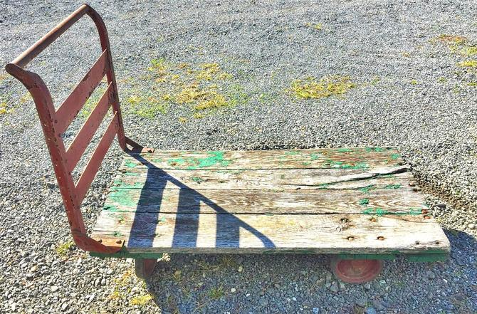 Antique Industrial Railroad Factory Cart Coffee Table | Industrial Décor