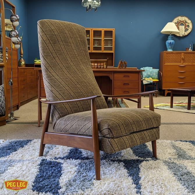 Mid-Century Modern walnut frame recliner by Milo Baughman