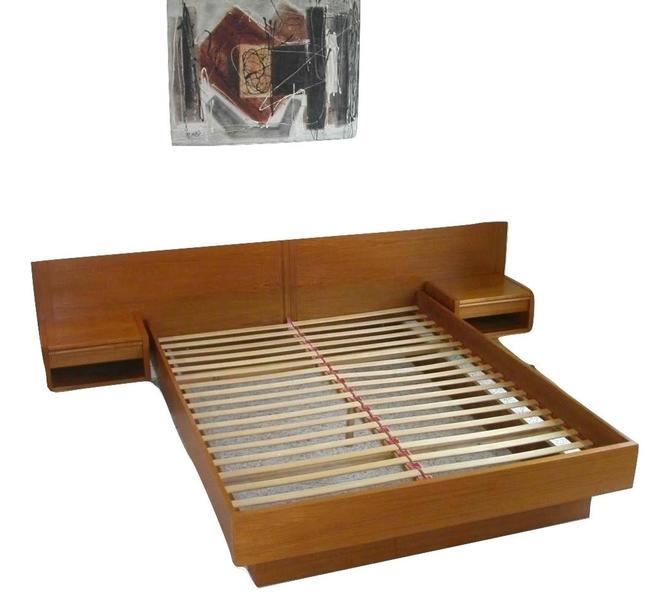 Queen Danish Modern Teak Platform Bed + Attached Floating Nightstands by Jesper