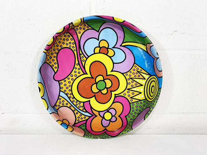 Vintage Rainbow Flower Power Metal Drink Tray Plate Retro Round Mid-Century Action USA Green Pink Yellow Barware Serving Floral 1960s 1950s by CheckEngineVintage