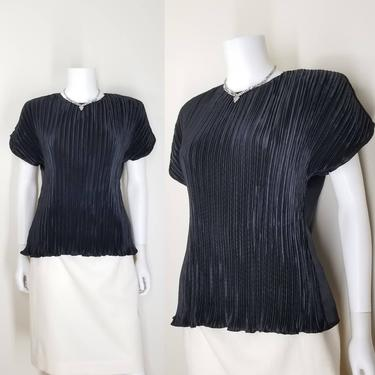 Vintage Fortuny Pleated Blouse, Large / Satin Back Button Blouse / Silky Short Sleeve Cocktail Blouse / Art Deco Style Black Dress Blouse by SoughtClothier