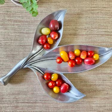 Vintage Leaf Serving Dish - Aluminum Leaf Serving Tray - Royal Hickman by Bruce Fox - Aluminum Serving Leaf - Appetizer Dish - Table Decor by SoulfulVintage