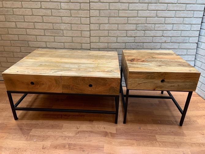 Rustic Industrial Teak Side and Coffee Table - Set of 2