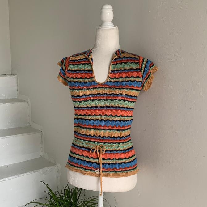 Fall Essential 1970s Unworn Earth Tone Wiggly Striped Knit Vest Medium by AmalgamatedShop