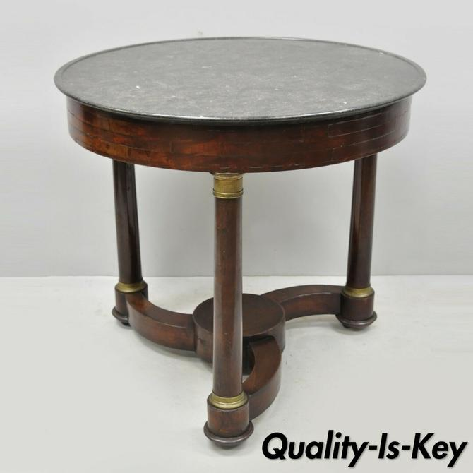 19th C. French Empire Mahogany Round Marble Top Center Table with Brass Ormolu