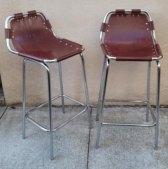 Charlotte Perriand for Les Arcs Ski Resort Chrome and Leather Bar Stools - a Pair