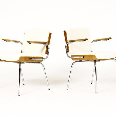 Danish Modern / Mid Century Arm Chairs — Duba Møbelindustri —  Chrome + Oak + Natural Bouclé by atomicthreshold