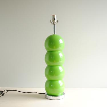 Vintage Mid Century Modern Green Ball Table Lamp, George Kovacs Style Stacked Ball Lamp, Caterpillar Lamp by LittleDogVintage