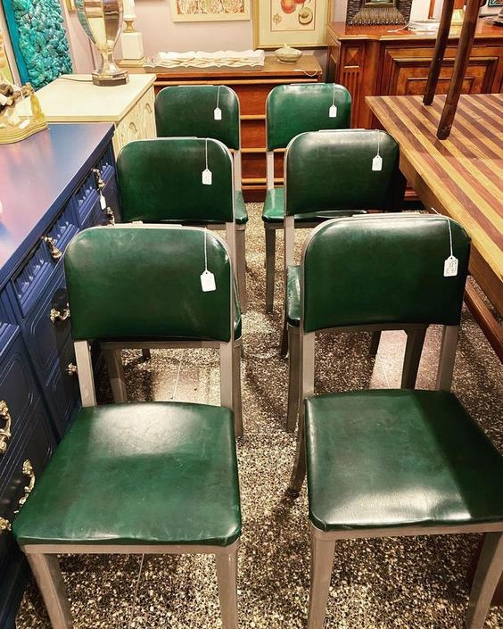 Green vinyl vintage metal based chairs, 6 available,