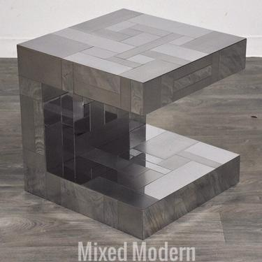 Signed Paul Evans Chrome Cityscape End Table by mixedmodern1