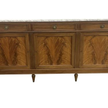French Louis XVI Style Walnut Marble Top Credenza Buffet