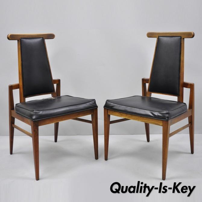 Pair Vintage Foster McDavid Mid Century Danish Modern Walnut Dining Side Chairs